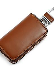 Мужчины и Женщины Повседневная Натуральная кожа Прямоугольник молнии вокруг ключевых Bag