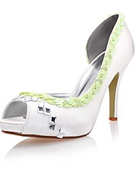Satin Women's Wedding Stiletto Heel Peep Toe Sandals with Rhinestone Shoes(More Colors)