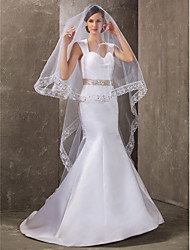 One-tier Cathedral Wedding Veil With Applique Edge