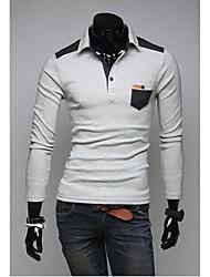 v Mode Hemdkragen Langarm-Polo-Shirt (hellgrau)