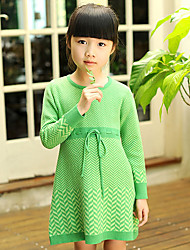 Girl's Dress,Striped Cotton Winter
