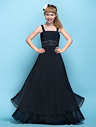 Floor-length Chiffon Junior Bridesmaid Dress A-line Straps Empire with Appliques / Beading / Ruching / Criss Cross