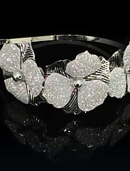 Liga de prata Headbands Com transparentes Headpieces casamento Flores
