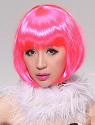 Full Bangs Short Straight Faddish Carnival Bob Hair Wig(Pink)