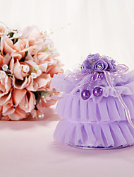 Lilac Organza Ring Pillow with Flower and Ribbon