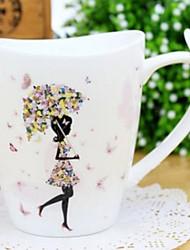 Stylish Girl Coffee Mug,Porcelain 11oz