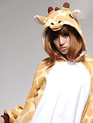 Kigurumi Pijamas Girafa Malha Collant/Pijama Macacão Festival/Celebração Pijamas Animal Branco / Amarelo Miscelânea Velocino de Coral