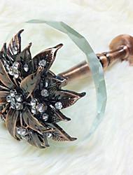 Euro Fancy Floral Shape Crystal Plate Window Holdbacks (One Pair)