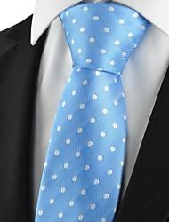 Dot New Polka bleue blanche classique cravate des hommes