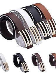 Nueva manera de las mujeres de los hombres de cuero de imitación metal de la forma de la hebilla de la correa 4 colores