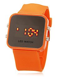 Unisex LED Digital Colorful Square Case Silicone Band Wrist Watch (Assorted Colors)