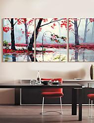 Stampa trasferimenti su tela artistica Alberi Landscape di Lake Set di 3