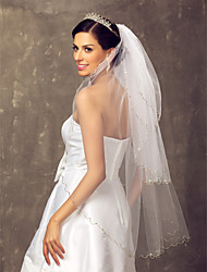 Wedding Veil Three-tier Fingertip Veils 39.37 in (100cm) Tulle White A-line, Ball Gown, Princess, Sheath/ Column, Trumpet/ Mermaid