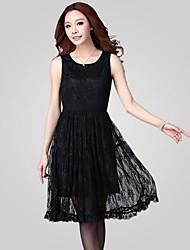 Women's Black Dress , Casual/Plus Sizes Sleeveless
