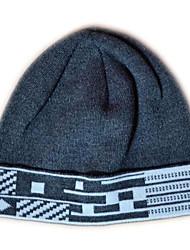 Mode Beanie Knited Cap Keep Warm acrylique souple de chapeau d'hiver et Taille unique Gris avec Blanc