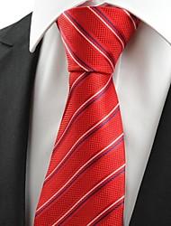 New Striped Red JACQUARD Mens cravatta del legame per la cerimonia nuziale festa del partito sposo Regalo