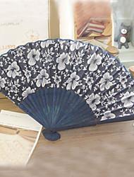 Navy Blue Flower Pattern Hand Fan