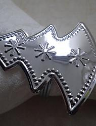 Weihnachtsbaum-Hochzeits-Serviettenring Set von 6, Metall Dia 4,5 cm