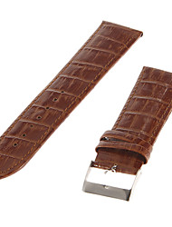 24 millimetri Uomo Bamboo Grain Pelle Watch Band (Khaki)