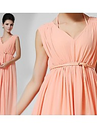 Women's Solid Pink Dress , Party/Work/Maxi V Neck Sleeveless Pleated