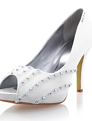 Satin Women's Wedding Stiletto Heel Pumps Sandals with Rhinestone/Lace Shoes(More Colors)