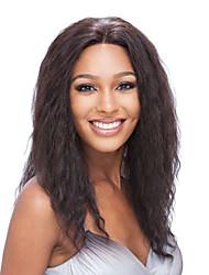 16inch Indian Remy Hair Lace Front perruque vague brun foncé (# 2) Kinky droite