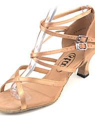 Женские атласа верхней двойной пряжки Индивидуальные каблука Бальные танцевальная обувь танцевать Сандалии