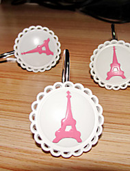 Shower Curtain Hooks,Modern Style Eiffel Tower Pattern Metal(12 pack)