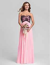 Floor-length Chiffon / Lace Bridesmaid Dress - Candy Pink Plus Sizes / Petite Sheath/Column Sweetheart