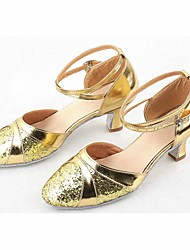 Non Customizable Women's Dance Shoes Modern/Ballroom Leatherette Chunky Heel Silver/Gold