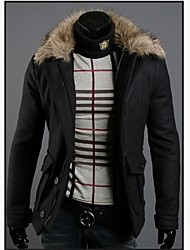 ZHELINMan Warm Fur Collar Coat Short Single Breasted Coat