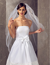 Two-tier Fingertip Wedding Veil With Imitation Pearls