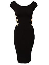 SML XL XXL del tamaño extra grande de las nuevas mujeres de la manera europea longitud de la rodilla Sexy Negro Bodycon vestido del vendaje de 9050