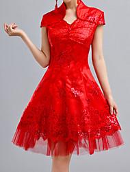 Estilo chinês vestido da dama de honra da Mulher
