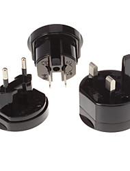 EU UK US AU Universal Travel Power Switch Adapter Black