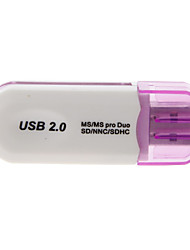 4-en-1 USB 2.0 Multi-Card Reader (Violet / Jaune)