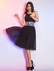 Cocktail Party/Holiday Dress - Black Plus Sizes A-line One Shoulder Knee-length Sequined/Chiffon