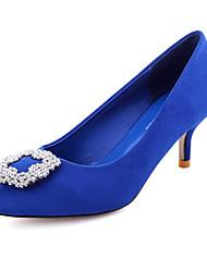 Ruxi Элегантные Sexy Тонкий каблук Кристалл Бархатные обувь (синий)
