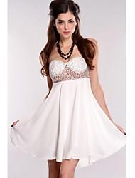 Strapless vestido de fiesta transparente atractiva de las mujeres