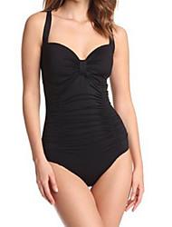 Preto Triangular Swimsuit de uma peça de W88817 Mulheres