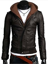 The Men's Korean Style Zipper Slim Fit Motorcycle Leather Jacket