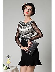 Women's Lace Black/Blue Dress , Vintage/Sexy/Lace Ruff Collar Long Sleeve Lace/Ruffle