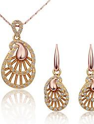 Women's Fashion 18K Rose Gold Fan Pattern (Necklace&Earrings) Jewelry Sets