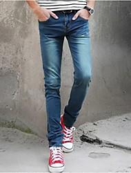Ocasionales delgadas largas de algodón Jeans
