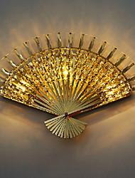 Fan Aplique de diseño, 3 luz, Creative Crystal metal galvanoplastia