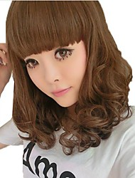 Long Curly Hair Light Brown Synthetic Full Bang Wigs