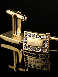 Personalized Gift Rectangle Gold Engraved Cufflinks with Rhinestone