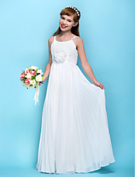 LAN TING BRIDE Floor Length Chiffon Junior Bridesmaid Dress Sheath / Column Spaghetti Straps Empire with Draping Flower(s) Ruching - Sky