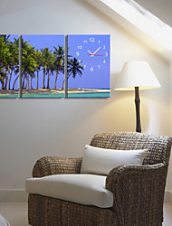 Land-Art-Coconut Tree Uhr in Canvas 3pcs