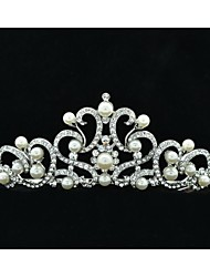 4,5 centímetros Wedding nupcial Tiara com Clear Áustria Pedrinhas e imitação de pérolas